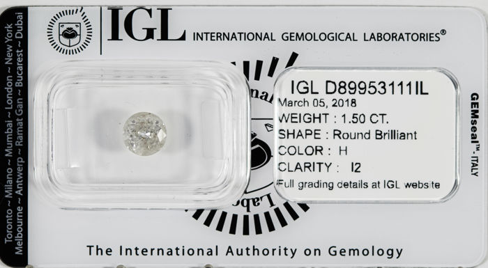 1.50 CT Round Brilliant Cut  H / I2 *** Low Reserve ***