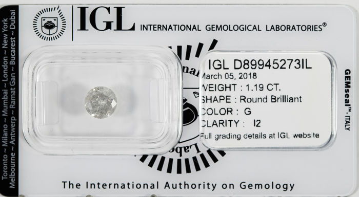 1.19 CT Round Brilliant Cut  G / I2 *** Low Reserve ***