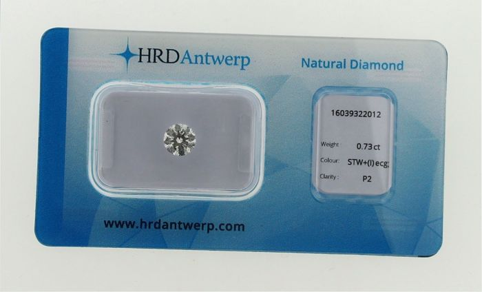 Brilliant cut diamond 0.73 ct I ecg/P2 HRD certificate, in blister