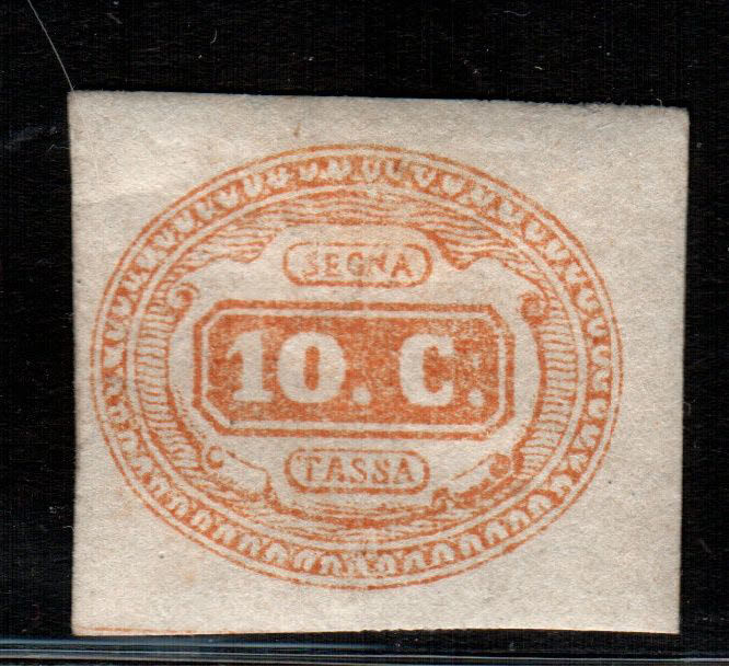 Kingdom of Italy, 1863 - Orange 10 Cent, Postage due - Sassone No.  1