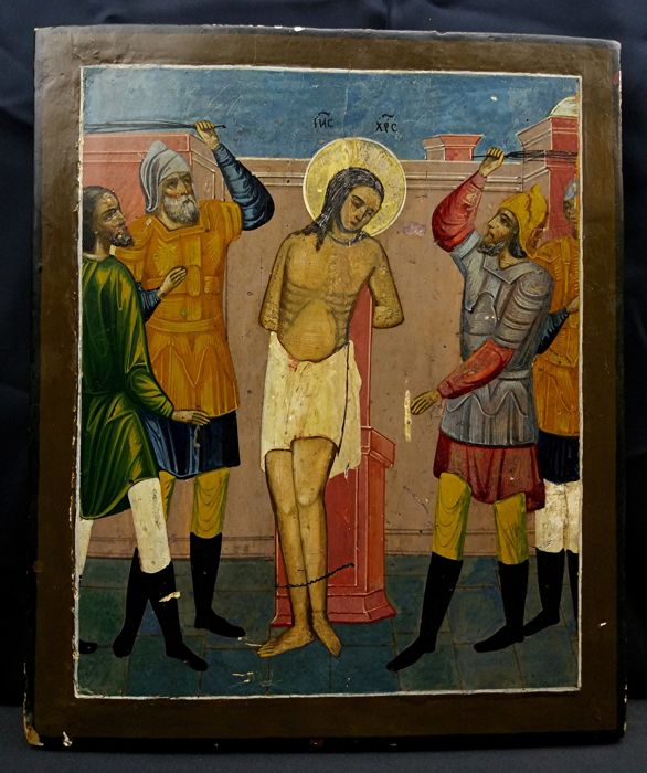 Icon - wood panel painted with tempera - the flagellation of Christ - Eastern Europe - 19th century