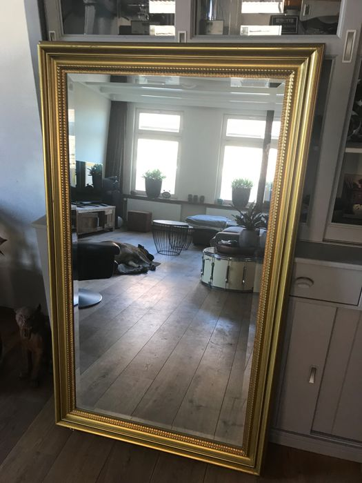 Classic mirror - gold-coloured - solid wood - facet-cut mirror glass - large size