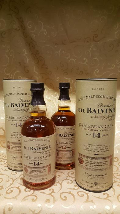 2 bottles - The Balvenie - 14 years old - Caribbean Cask