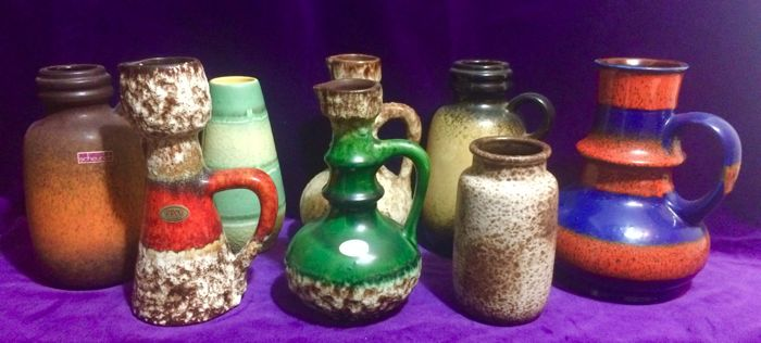 Collection with eight West Germany Fat Lava vases