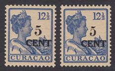Curaçao 1918 - Aid stamp type I and II - NVPH 74 and 74a