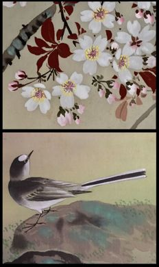 Hand-painted scroll painting on cloth - 'Bird under flowering Cherry Tree' - signed and sealed Shunpo (Harumine?) 春峯 - Japan - ca. 1920