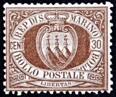 San Marino 1877 - 30 c. dark brown - Sassone No.  6