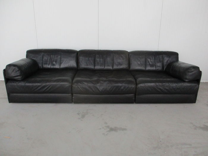 De Sede - DS-76, black leather sofa with 3 elements