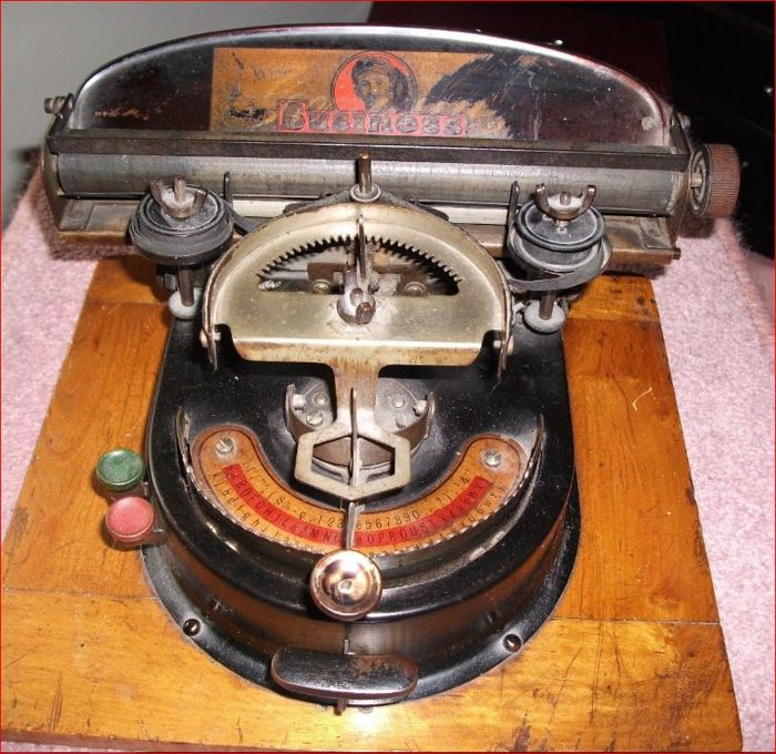 Very rare typewriter on wooden base