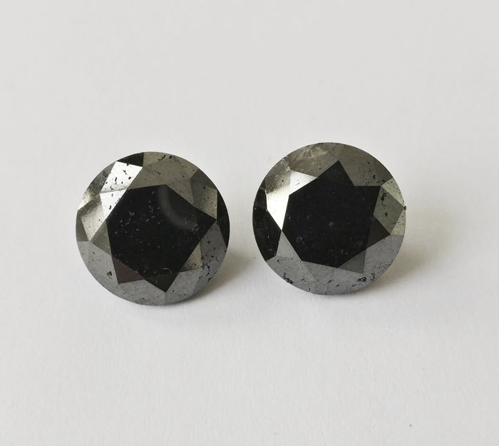 Couple of 2 Round cut diamond total 19.43 ct Fancy Black *** Low Reserve ***
