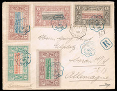Somali Coast 1898 - Circulated letter registered mail to Germany with 7 stamps 15/june/1898