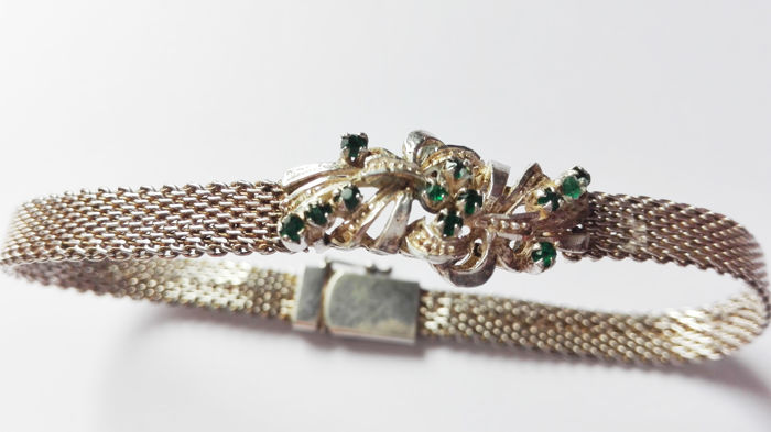 Antique and Italian bracelet in 835 silver with emeralds