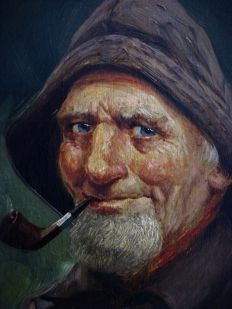 R. Fugerio (Italian, 20th Century) - Portrait of an old Man Head and Shoulders smoking