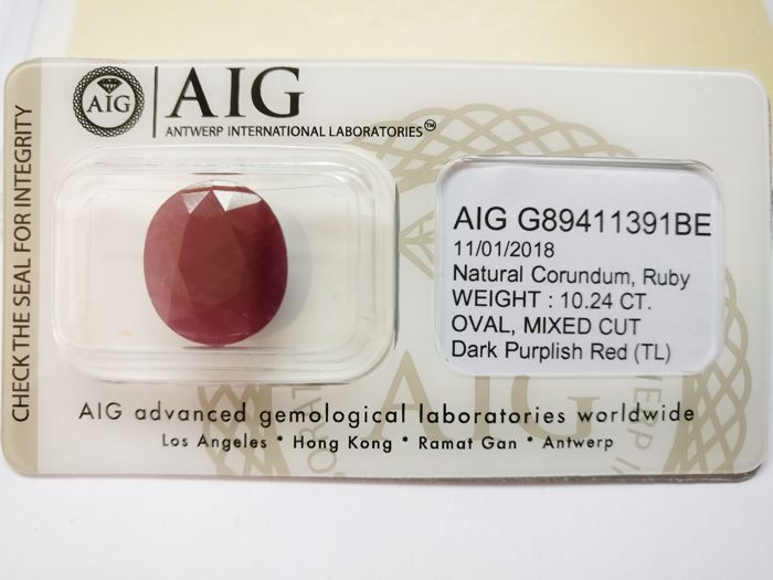 Ruby Dark Purplish Red 10.24 ct