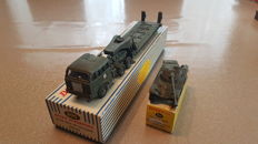 Military Dinky Toys - # 890 Berliet tractor and trailer tank carrier and # 827 Panhard FL 10