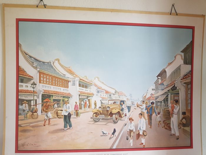 School poster - Shopping street Chinese camp - Batavia Dutch East Indies