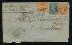 France 1868 - Letter fragment to Montreal with mixed postage - Yvert 23 and 29a