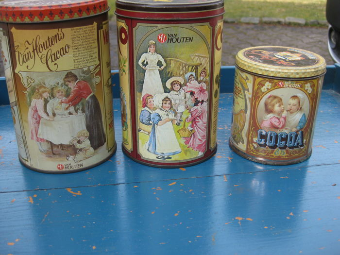 Lot of old cocoa tins