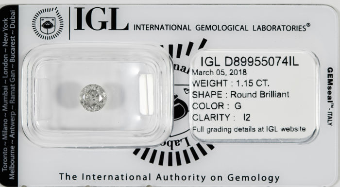 1.15 CT Round Brilliant Cut  G / I2 *** No Reserve ***