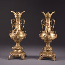 Set of decorative bronze candlesticks with putti and floral ornaments - ca. 1900