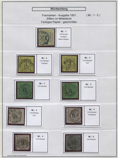 Württemberg 1851 – 1902 collection on self-made pages with documentation and 3 x 18 Kreutzer