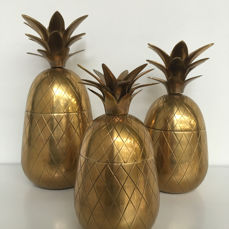 Unknown producer - set of 3 vintage brass pineapple ice buckets
