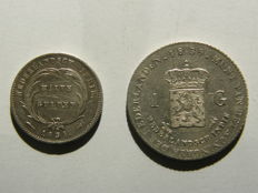 Dutch East Indies – ½ guilders 1834/27 (overstrike) and 1 guilder 1839 Willem I – silver
