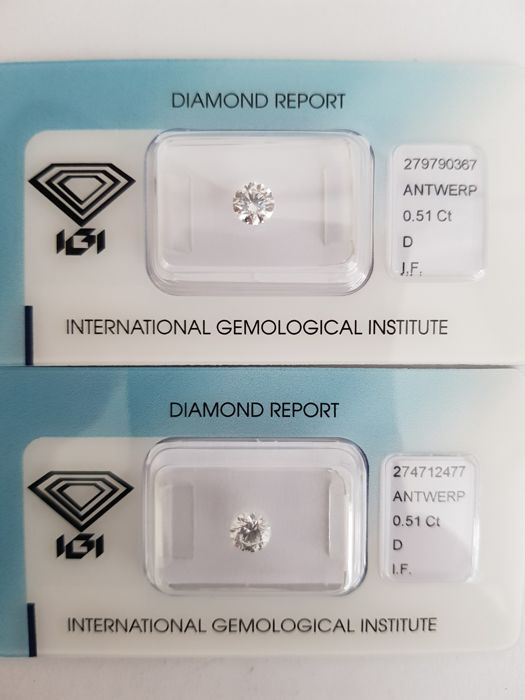 A pair of brilliant cut diamonds of 1.02 ct in total, D I.F