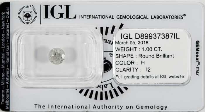 1.00 CT Round Brilliant Cut  H / I2 *** Low Reserve ***