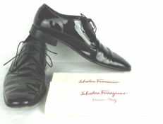 Salvatore Ferragamo - Black Patent Lace Up Leather Blucher Shoes