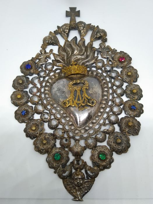 Antique votive item - 30 cm silver heart - Ave Maria with coloured glass and INRI cross