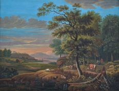 Continental school (18th century) - A landscape with figures and cattle