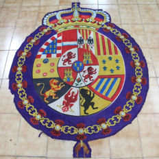 Centre of Very Old Spanish Naval Ceremonial Flag in Use Between 1760 and 1785 Under the Command of Carlos III