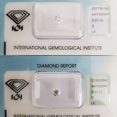 Pair of 0.62 ct brilliant cut diamonds in total, D I.F.