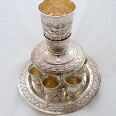 A silver fountain set - kiddush goblet with 6 cups - Israel - mid 20th century