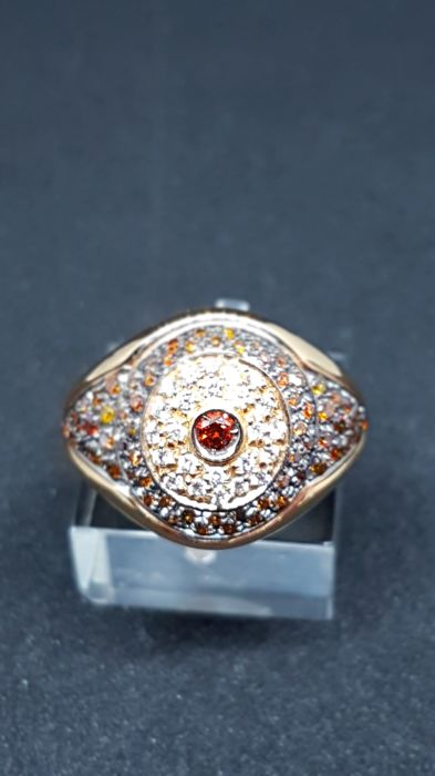 Oro Trend - 18 kt rose gold ring with white brilliant cut diamonds, colour F, clarity VVS, 0.24 ct, and cognac-coloured, 0.68 ct - size: 24 x 22 x 16 mm