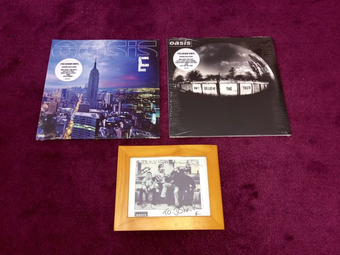 Oasis - Beautiful Lot Of 2 Lp's + Signed (printed) Picture Display Framed; Don't Believe The Truth+Standing On The Shoulders Of Giants