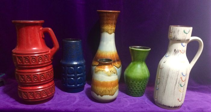Collection with six West Germany Fat Lava vases
