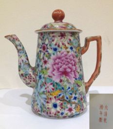 Gold Ground Mille Fleur teapot - Late Qing Dynasty/Republic period.