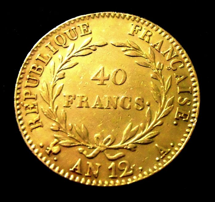 France – 40 Francs Year 12 A (Paris) – Bonaparte First Consul – Gold