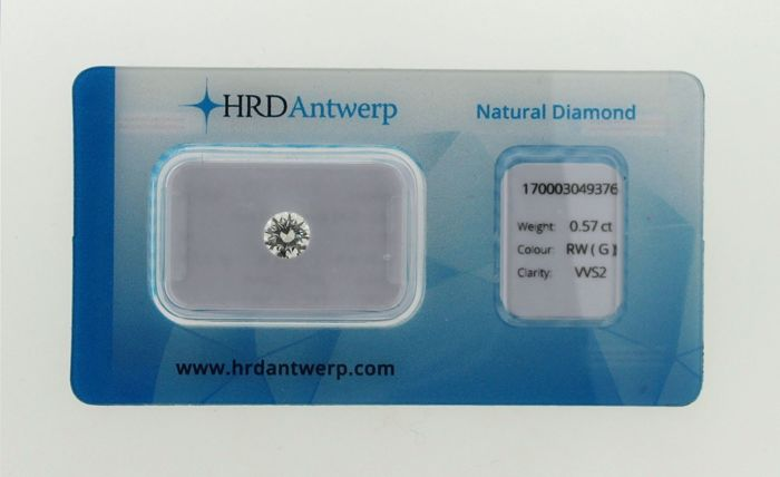 Brilliant cut diamond for 0.57 ct, colour: G, clarity: VVS2  HRD Certificate, in a blister-pack
