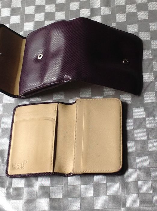 Two wallets/purses in leather Montblanc (purple dark outside and inside in beige) and black leather agenda Dupont Paris