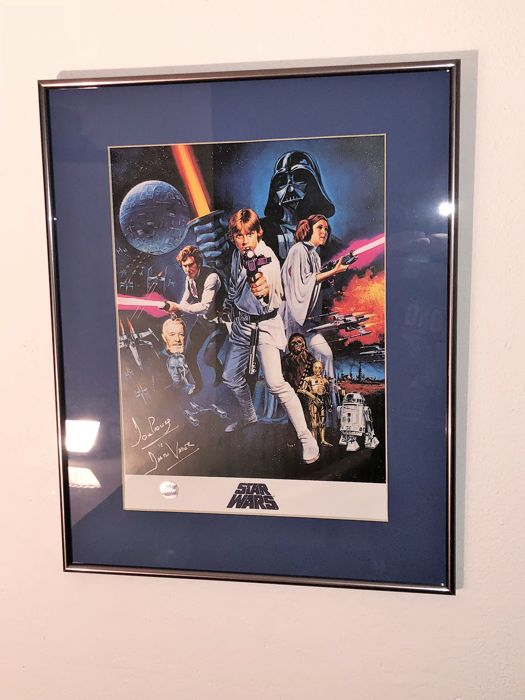 darth vader signed star wars poster in deluxe black frame with blue