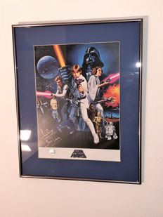 Darth Vader Signed Star Wars Poster In Deluxe Black Frame With blue Inlay