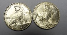 Belgium - 50 centimes 1901 Leopold II - French and Flemish - 2 coins - silver
