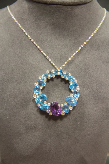 'Calla' round choker with diamonds and blue topaz and a central amethyst - ITITOLI