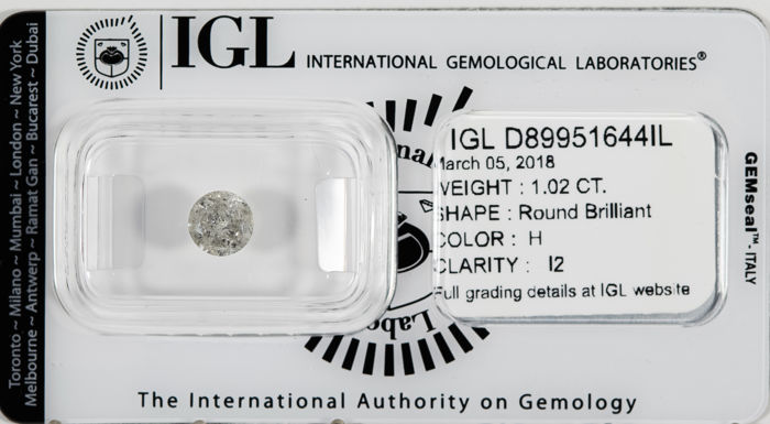 1.02 CT Round Brilliant Cut  H / I2 *** No Reserve ***