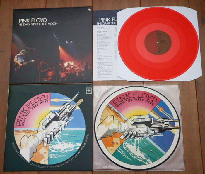 Pink Floyd- Great lot of 2 special unofficial releases of classic albums: The Dark Side Of The Moon (Japan release on RED wax w. insert) & Wish You Were Here picture disc lp w. sleeve