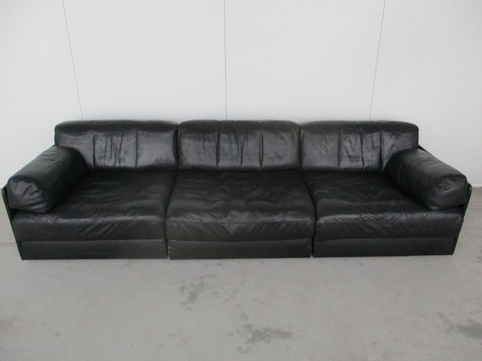 De Sede - DS-76, black leather sofa with 3 elements - Catawiki