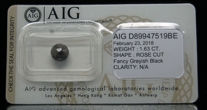 1.63 Cts Certified Natural Fancy Grayish Black Diamond -No reserve